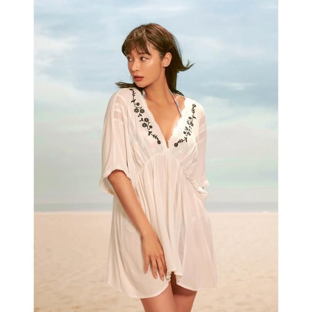 【WAVE SHINE】微透深V繡花收腰洋裝(B5WF021)