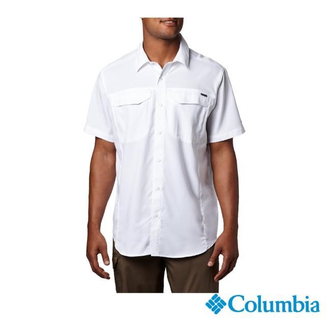 【Columbia 哥倫比亞】男款-UPF40快排短袖襯衫-白色(UAE15670WT / 排汗.防曬.T恤)