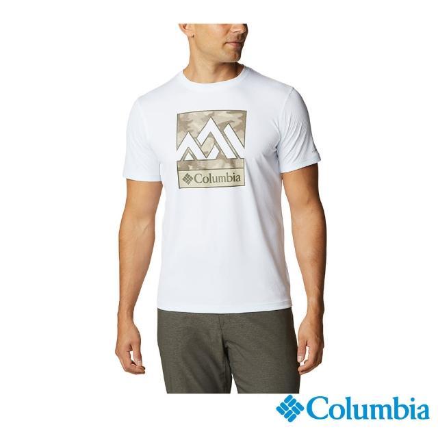 【Columbia 哥倫比亞】男款- UPF30涼感快排短袖上衣-白色(UAE64630WT/ 涼感.排汗.防曬)