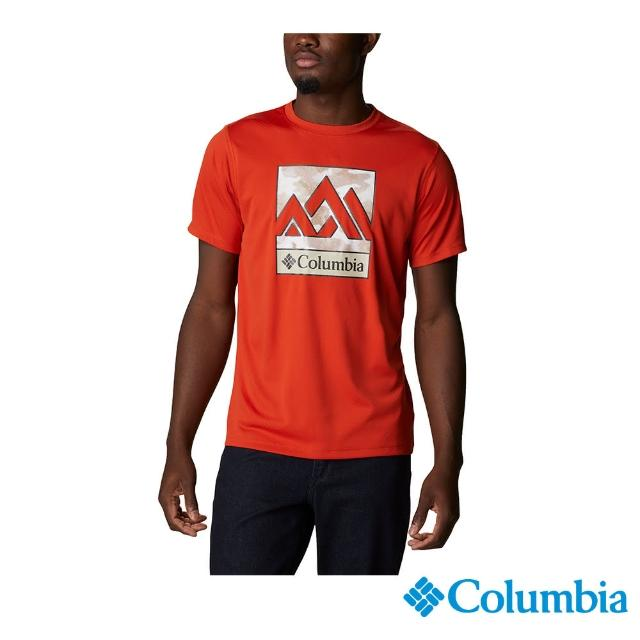 【Columbia 哥倫比亞】男款- UPF30涼感快排短袖上衣-紅色(UAE64630RD / 涼感.排汗.防曬)