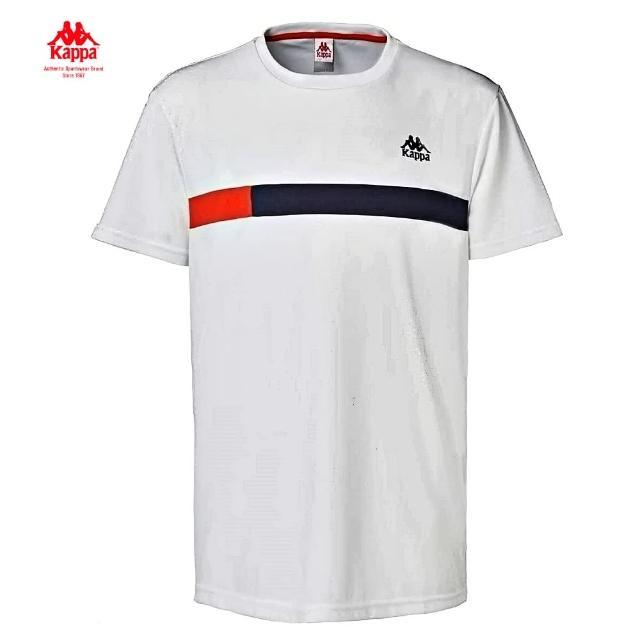 【KAPPA】時尚舒適型男吸濕排圓領衫(白 31175BWI10)