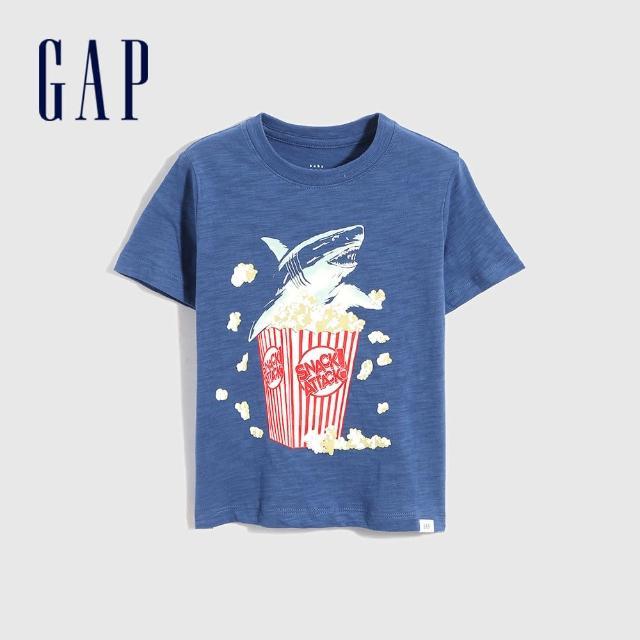 【GAP】男幼童 純棉趣味印花短袖T恤(698007-藍色)
