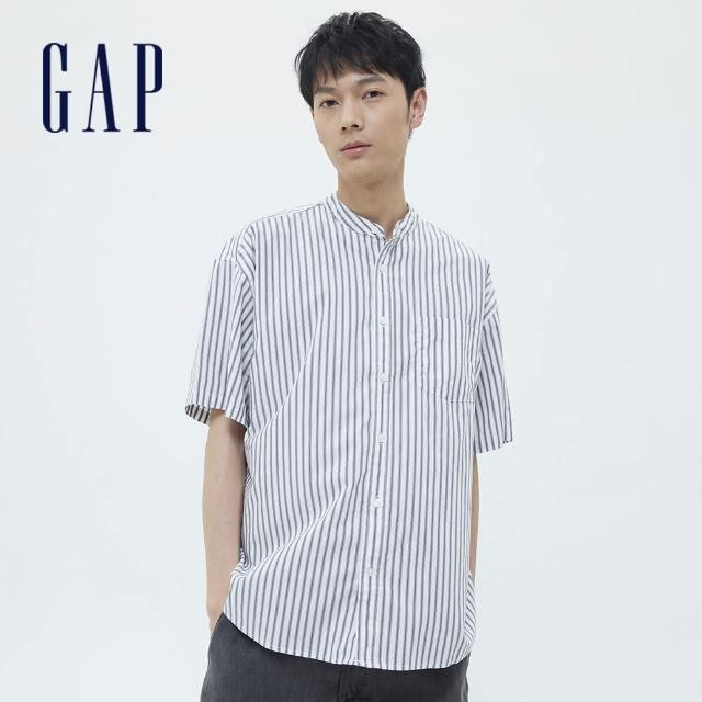【GAP】男裝 府綢布條紋圓領短袖襯衫(701459-白底條紋)