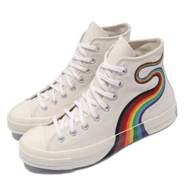 【CONVERSE】休閒鞋 All Star 高筒 穿搭 男女鞋 基本款 簡約 帆布 三星標 彩虹 情侶款 白 彩(170821C)