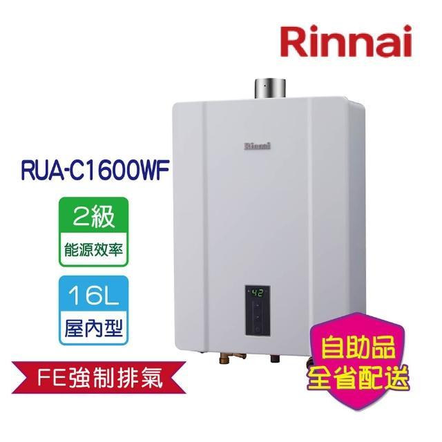 【林內買就送整髮梳】RUA-C1600WF屋內大廈型強制排氣熱水器16L(全省運送無安裝)