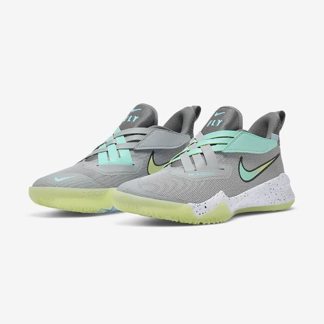 【NIKE 耐吉】籃球鞋 大童 女鞋 運動鞋 包覆 緩震 魔鬼氈 NIKE ZOOM FLIGHT 2 GS 灰綠 DB6708-001