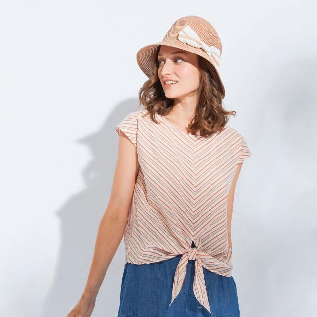 【AZUR】時尚OL印花綁帶上衣-2色