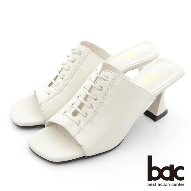 【bac】時髦深口綁帶粗跟涼拖鞋(米白)