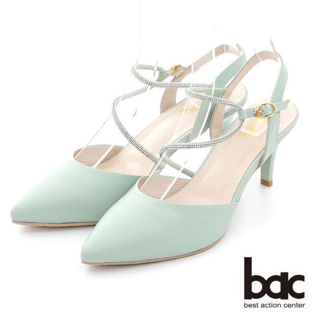 【bac】不對襯水鑽線條兩截式高跟鞋(淺綠色)