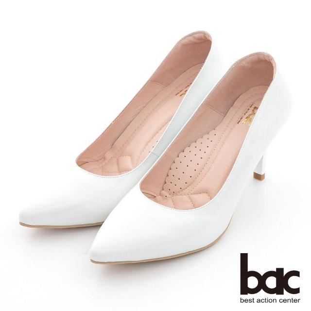 【bac】時髦尖頭素雅雷射高跟鞋(白色)