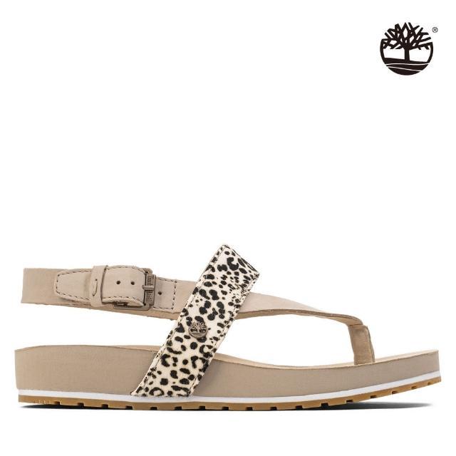 【Timberland】女款豹紋磨砂革人字扣環涼鞋(A23C7BX3)
