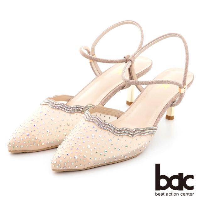 【bac】荷葉透膚感水鑽點綴後空高跟鞋(粉金)