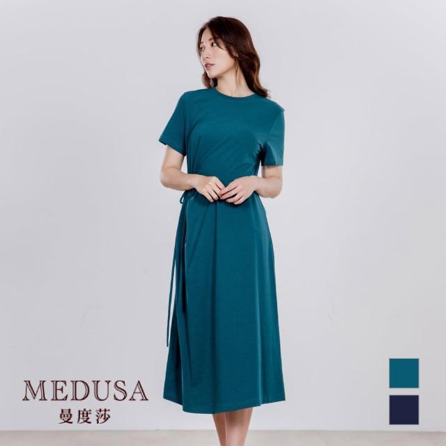 【MEDUSA 曼度莎】純棉 單側綁結素長Tee洋裝(M-XL)(605-31106)