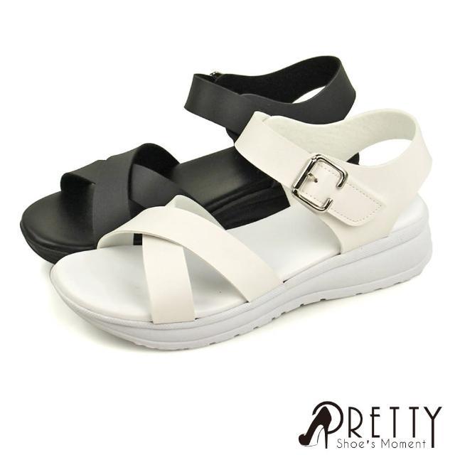 【Pretty】台灣製簡約交叉金屬扣沾黏帶厚底涼鞋(白色、黑色)