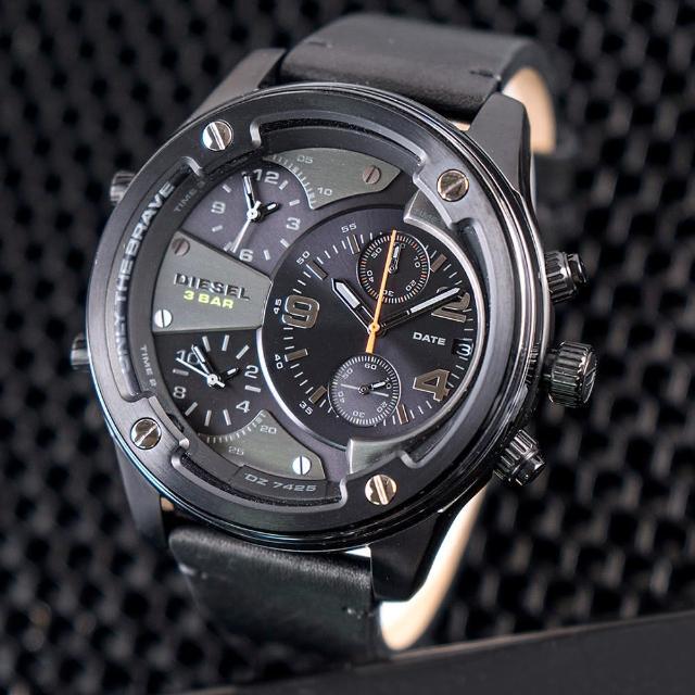 【DIESEL】公司貨 Boltdown 曠野男神多時區皮革腕錶/黑(DZ7425)