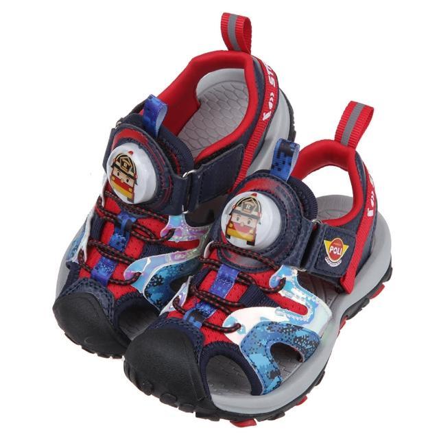【布布童鞋】POLI救援小英雄羅伊紅色點陣迷彩兒童電燈護趾涼鞋(B1B222A)