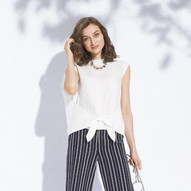 【AZUR】優雅OL素色平口下擺綁帶上衣-粉