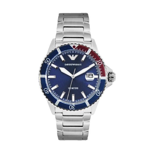 【EMPORIO ARMANI】原廠平行輸入 水鬼系列 藍面休閒 銀殼 不鏽鋼錶帶(AR11339)