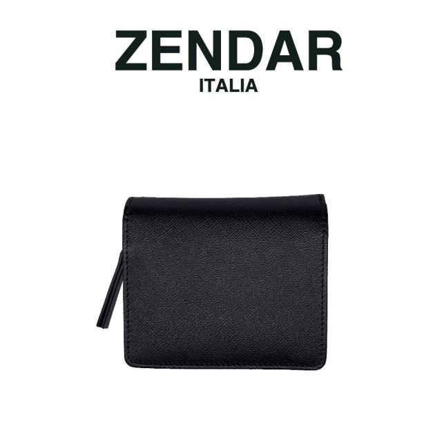 【ZENDAR】限量2折 國際精品 頂級NAPPA小牛皮十字紋拉鍊短夾 全新專櫃展示品(黑色)