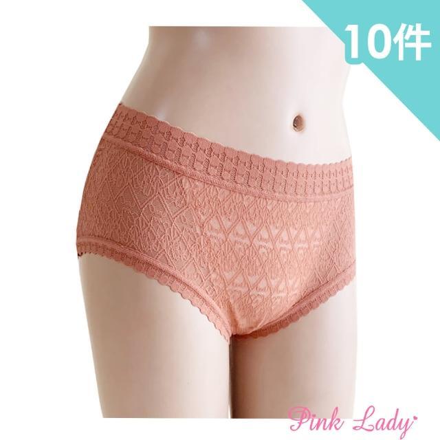 【PINK LADY】性感蕾絲內褲 復古圓點 中高腰內褲(10件組)