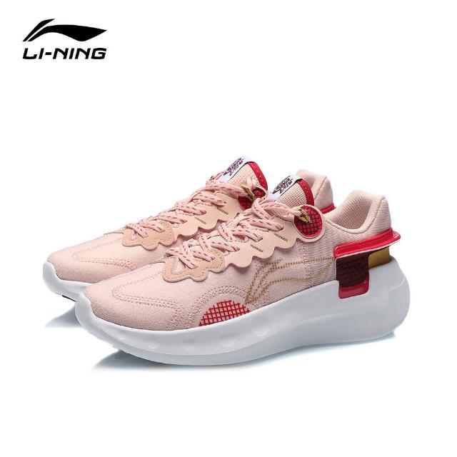 【LI-NING 李寧】逍遙女子減震跑鞋 桃橘粉/玫瑰紅(ARHR052-5)