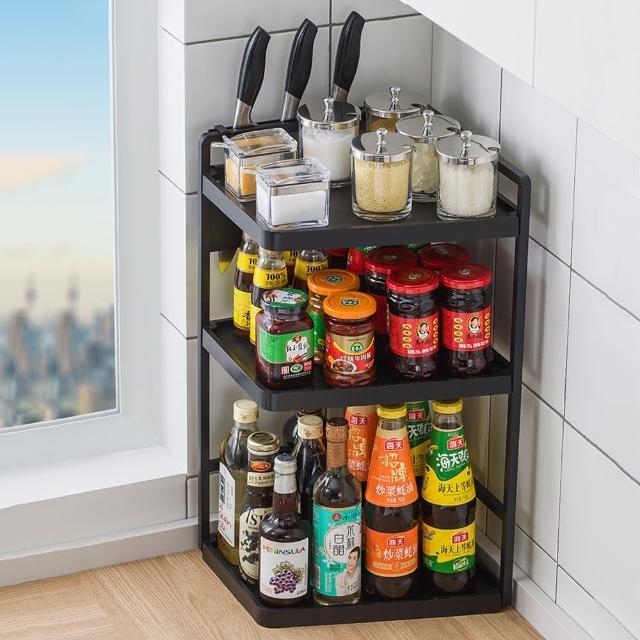 【HappyLife】多功能廚房轉角架 32長3層 配刀架 Y10161(桌上整理架 檯面整理架 餐具架 調味料 廚房收納架)