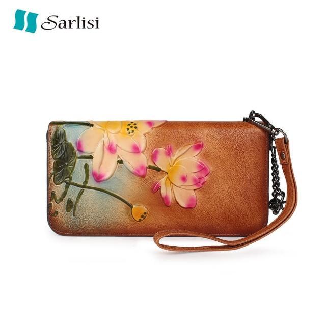 【Sarlisi】手工復古植鞣皮錢包女長款牛皮多卡位拉鏈手拿包手挽包簡約手抓包
