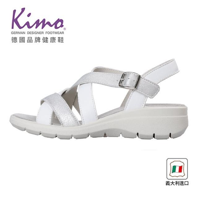 【Kimo】義大利製造簡約牛皮涼鞋 女鞋(銀白 7081301405)