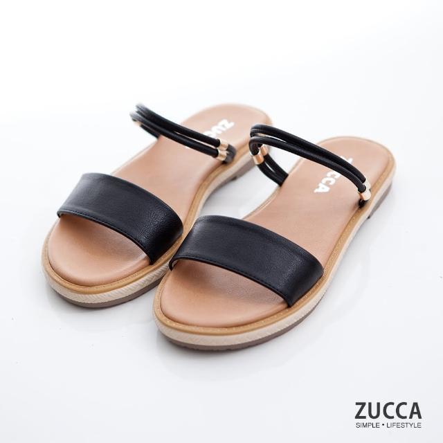 【ZUCCA&bellwink】繞帶多穿式平底涼鞋z7002bk-黑色