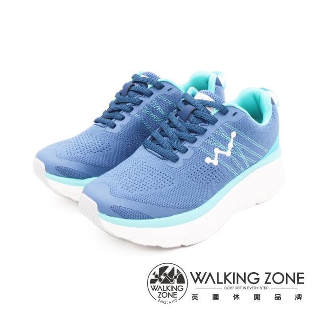 【WALKING ZONE】女 天痕W系列 飛線編織增高休閒鞋 女鞋(水藍)