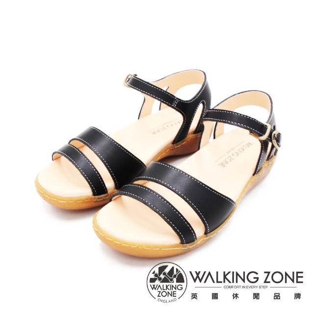 【WALKING ZONE】女 MIT真皮手工車縫厚底涼鞋 女鞋(黑)