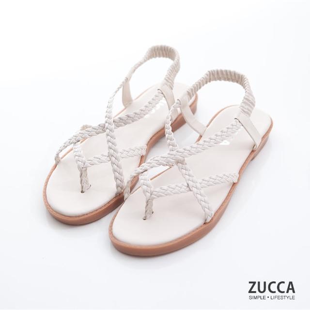 【ZUCCA&bellwink】編織素帶交叉涼鞋z7003we-白色