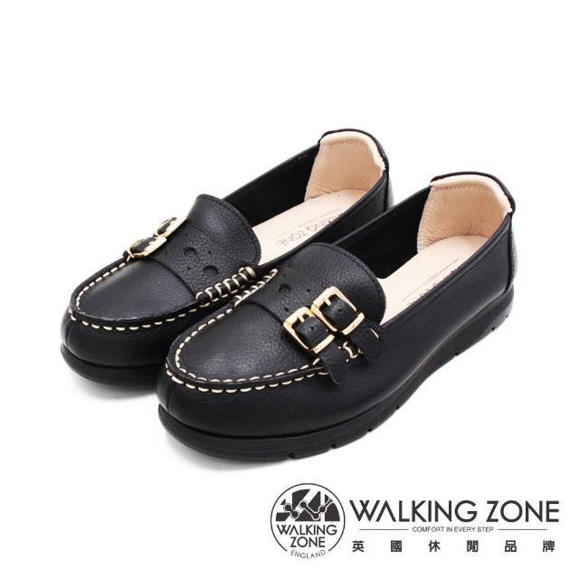 【WALKING ZONE】女 MIT真皮雙釦造型厚底休閒鞋 女鞋(黑)