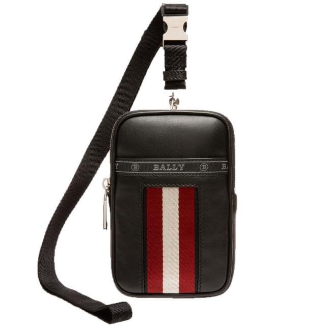 BALLY【BALLY】黑色牛皮飾TSP斜跨手機袋(手機袋)