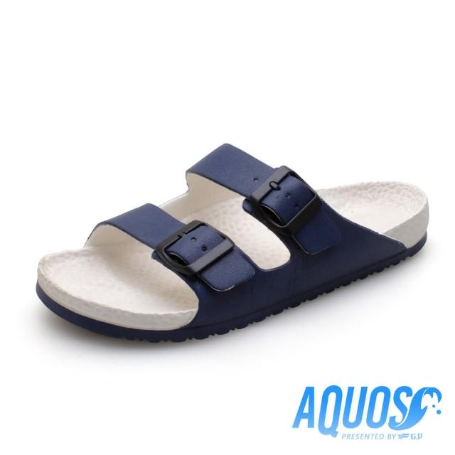 【G.P】AQUOS雙色雙硬度柏肯防水拖鞋A5115-白藍色(SIZE:40-44 共七色)
