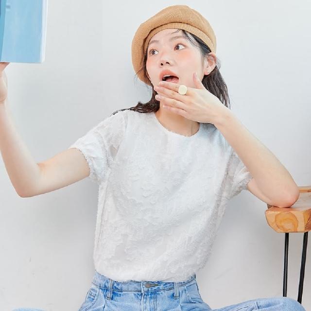 【創翊韓都】蕾絲上衣圓領氣質透明短袖蕾絲衫PS9109創翊韓都(預購)