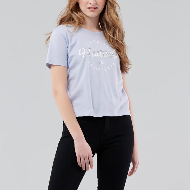 【HOLLISTER Co】Hollister 海鷗 經典印刷文字短版圖案短袖T恤-女-水藍色