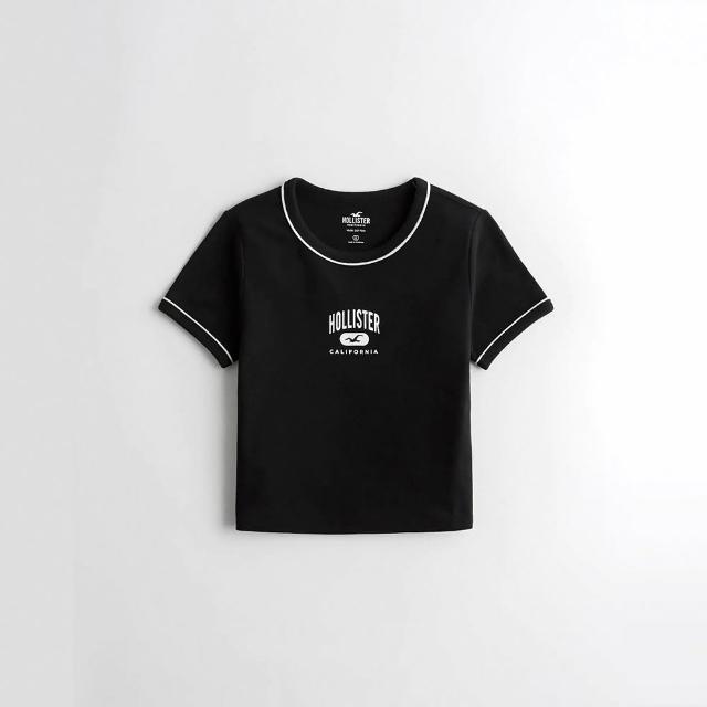 【HOLLISTER Co】Hollister 海鷗 經典印刷文字短版圖案短袖T恤-女-黑色