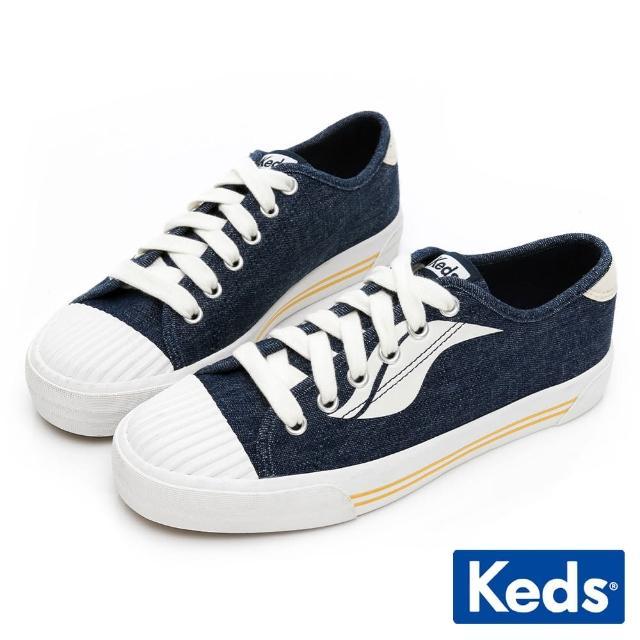 【Keds】CREW KICK WAVE 街頭潮流單寧休閒鞋(深藍)