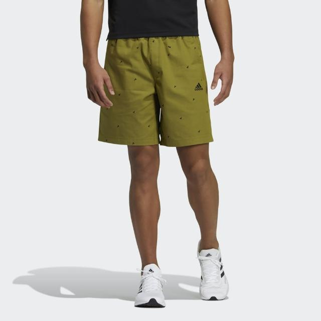 【adidas 愛迪達】Adidas Fi Short Aop 男 短褲 運動 休閒 舒適 透氣 拉鍊口袋 芥末綠(GP0947)
