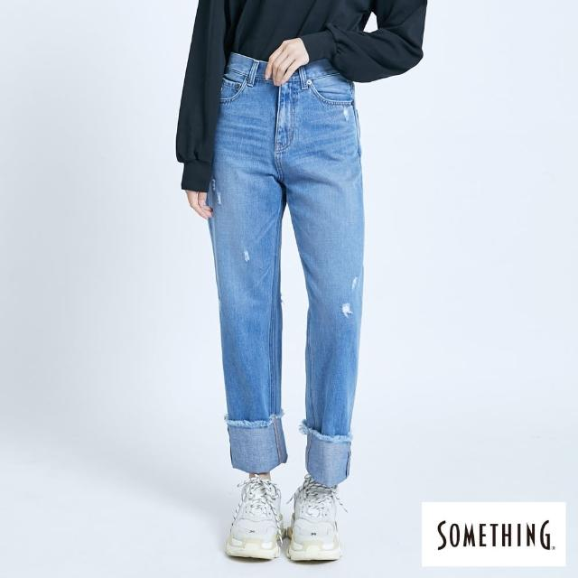 【SOMETHING】不修邊抽鬚直筒牛仔褲-女款(石洗藍)