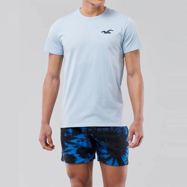 【HOLLISTER Co】Hollister 海鷗 經典刺繡大海鷗素面短袖T恤-水藍色