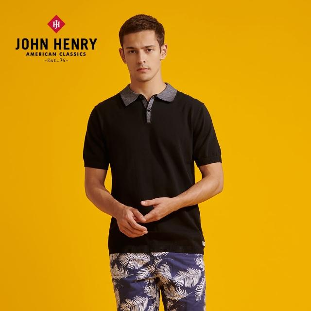 【JOHN HENRY】經典短袖POLO針織衫-黑