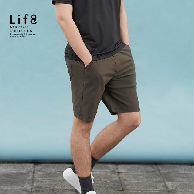 【Life8】Casual 反摺設計 高彈力基本短褲(02607)