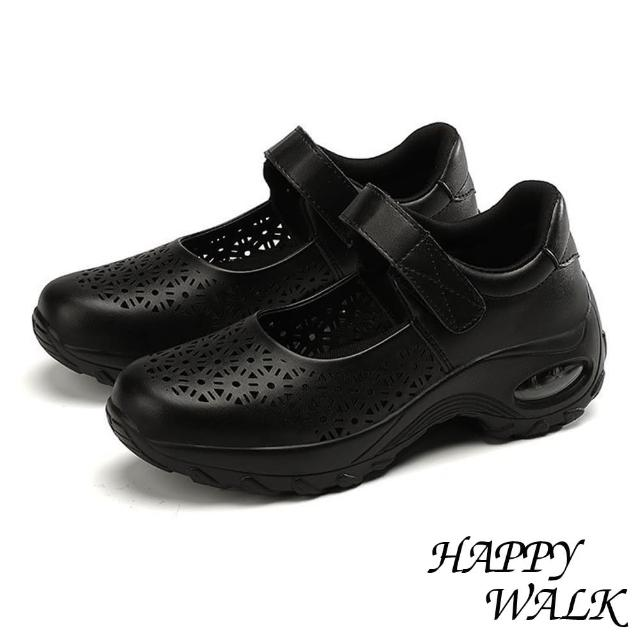 【HAPPY WALK】縷空娃娃鞋 厚底娃娃鞋/質感皮革縷空花樣舒適彈力氣墊娃娃休閒鞋(黑)