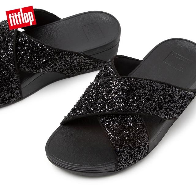 【FitFlop】LULU SHIMMERFOIL SLIDES 經典交叉涼鞋-女(靓黑色)