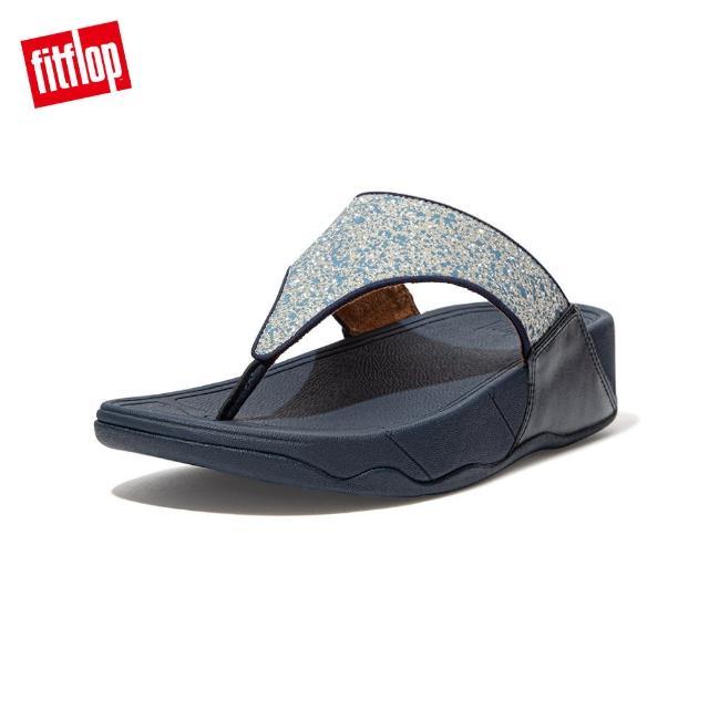 【FitFlop】LULU GLITTER SPLASH WIDE FIT TOE-POST SANDALS 潑墨亮粉夾腳涼鞋-女(午夜藍)