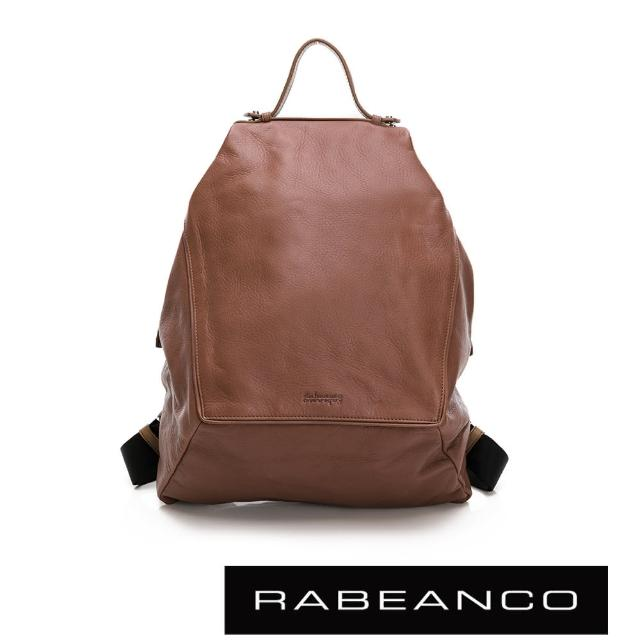 【RABEANCO】時尚系列牛皮菱形後背包(灰卡其)