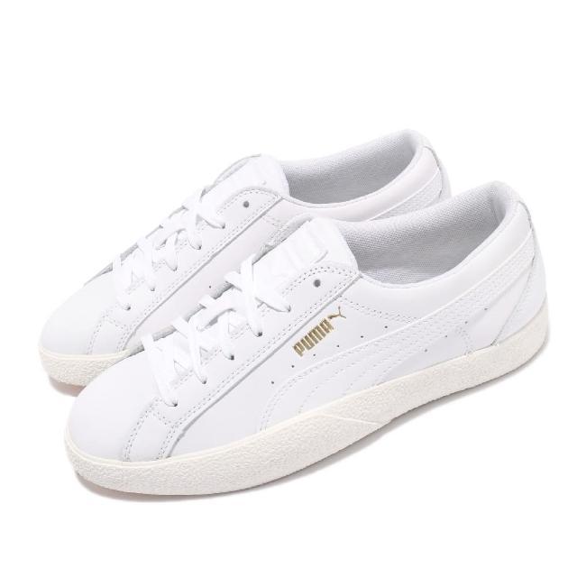 【PUMA】休閒鞋 Love 皮革 基本款 女鞋 百搭款 緩震 穿搭推薦 上學 小白鞋 白(37210401)