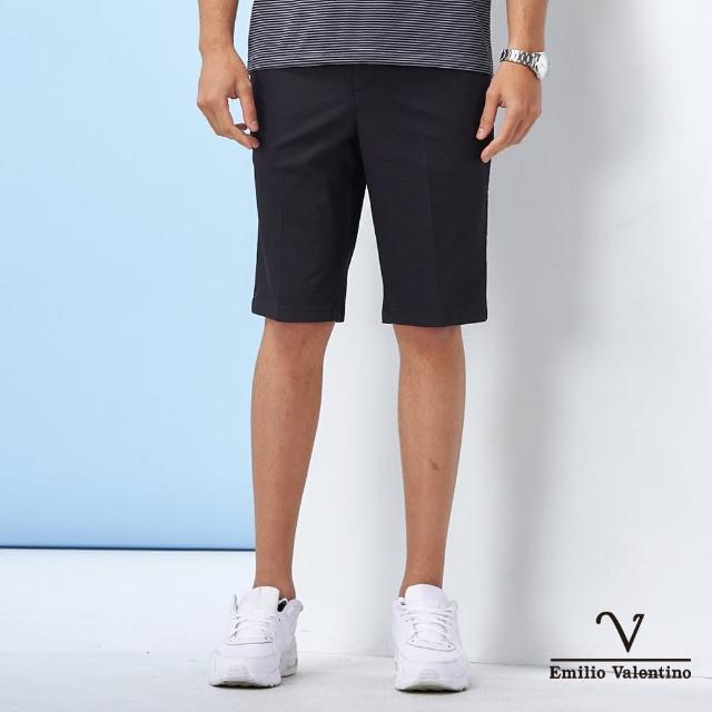 【Emilio Valentino 范倫鐵諾】男裝 經典彈力修身平面休閒短褲_黑色(70-1C5702)